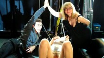 James Deen and Nina Hartley high-5 over Bobbi Starr