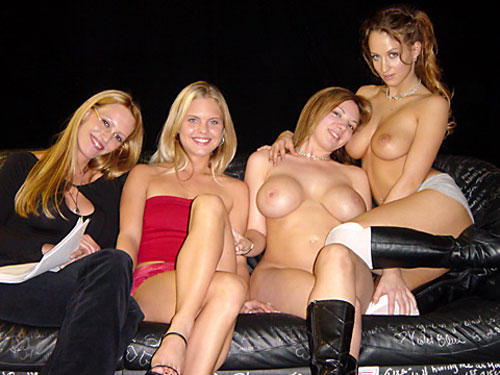 (l-r) Sam Phillips, Jordan, Kiki D'aire, and Bunny Luv (later Celeste). December, 2002
