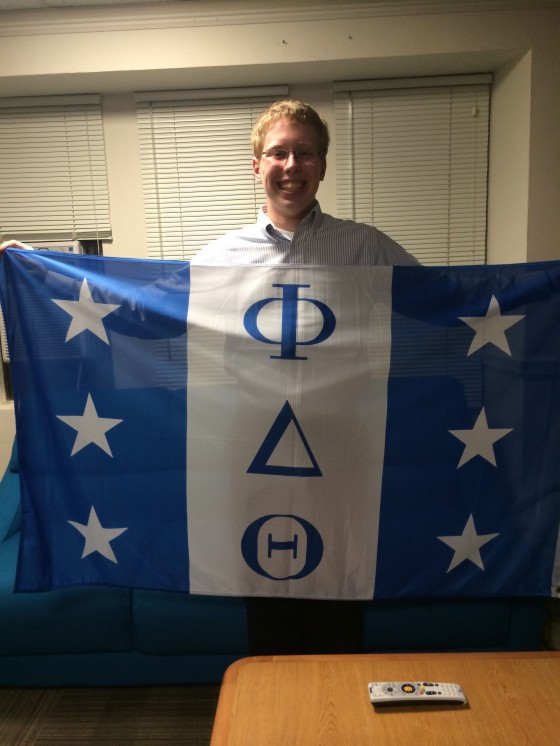 Thomas Bagley, Phi Delta Theta pledge (watch out, the flag and remote are sticky)